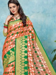 Multi Colour Brasso Festival Designer Traditional Saree
