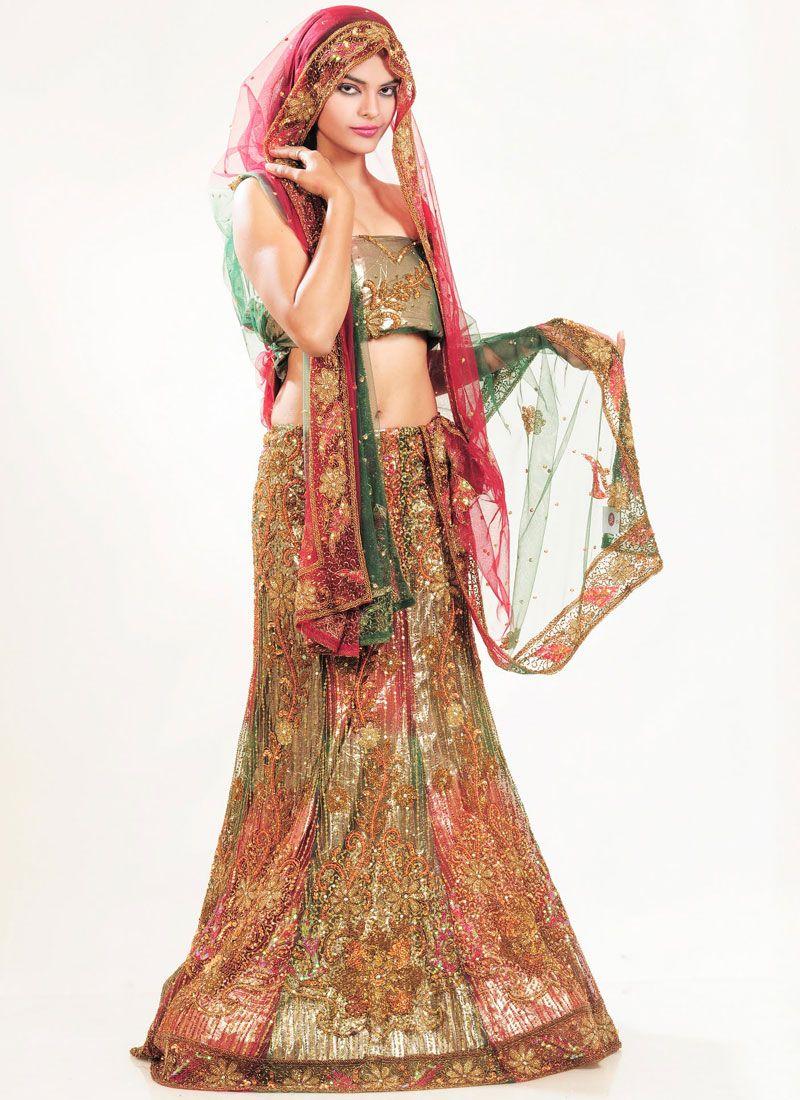 Multi Colour Bridal Lehenga Choli