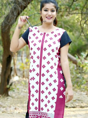 Multi Colour Casual Crepe Silk Casual Kurti