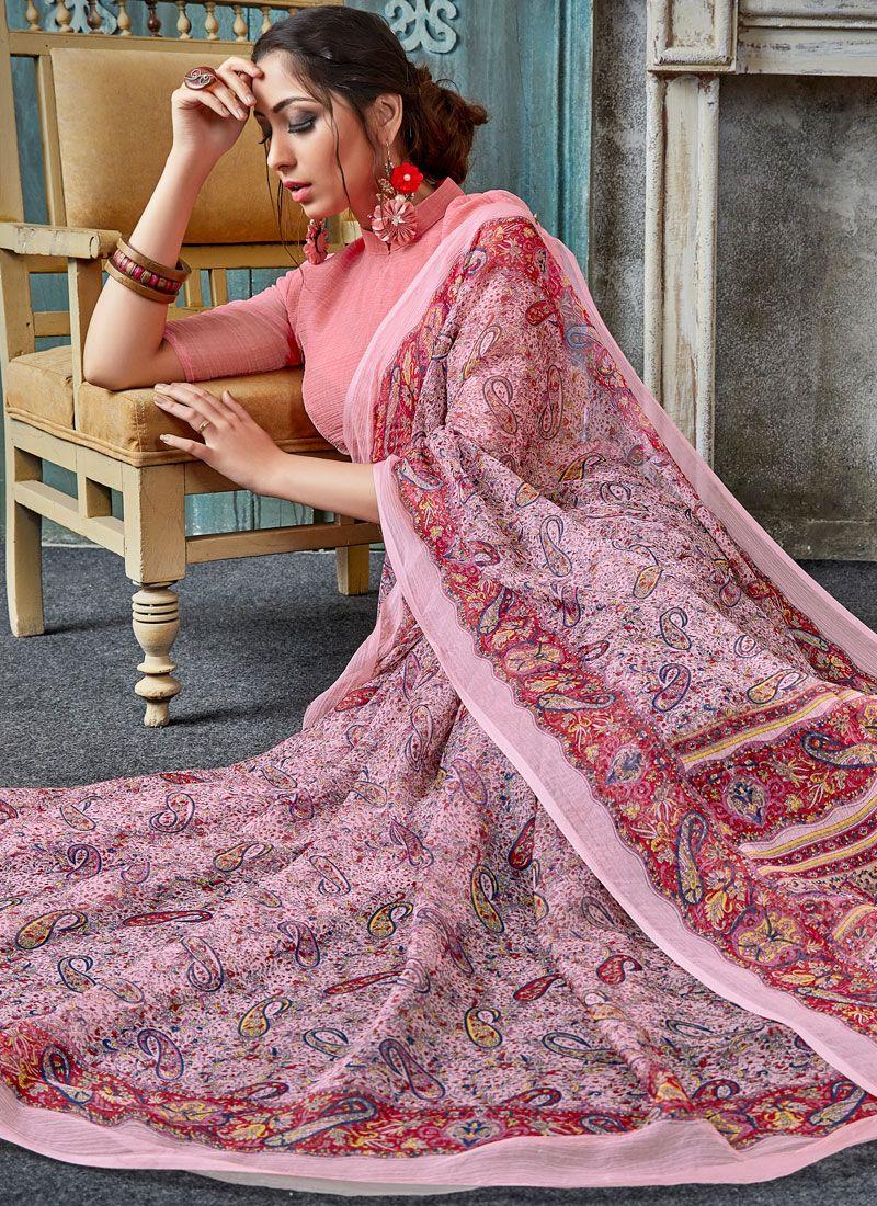 Multi Colour Casual Faux Chiffon Printed Saree