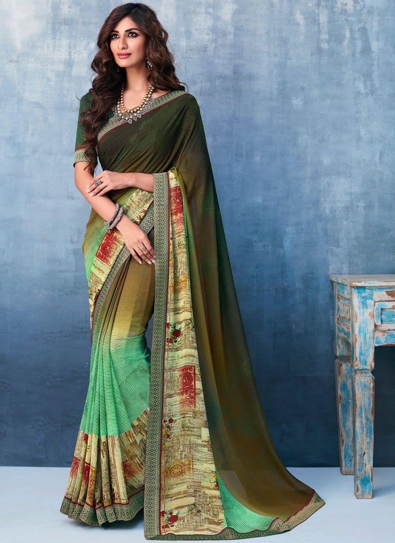 Multi Colour Casual Faux Georgette Printed Saree