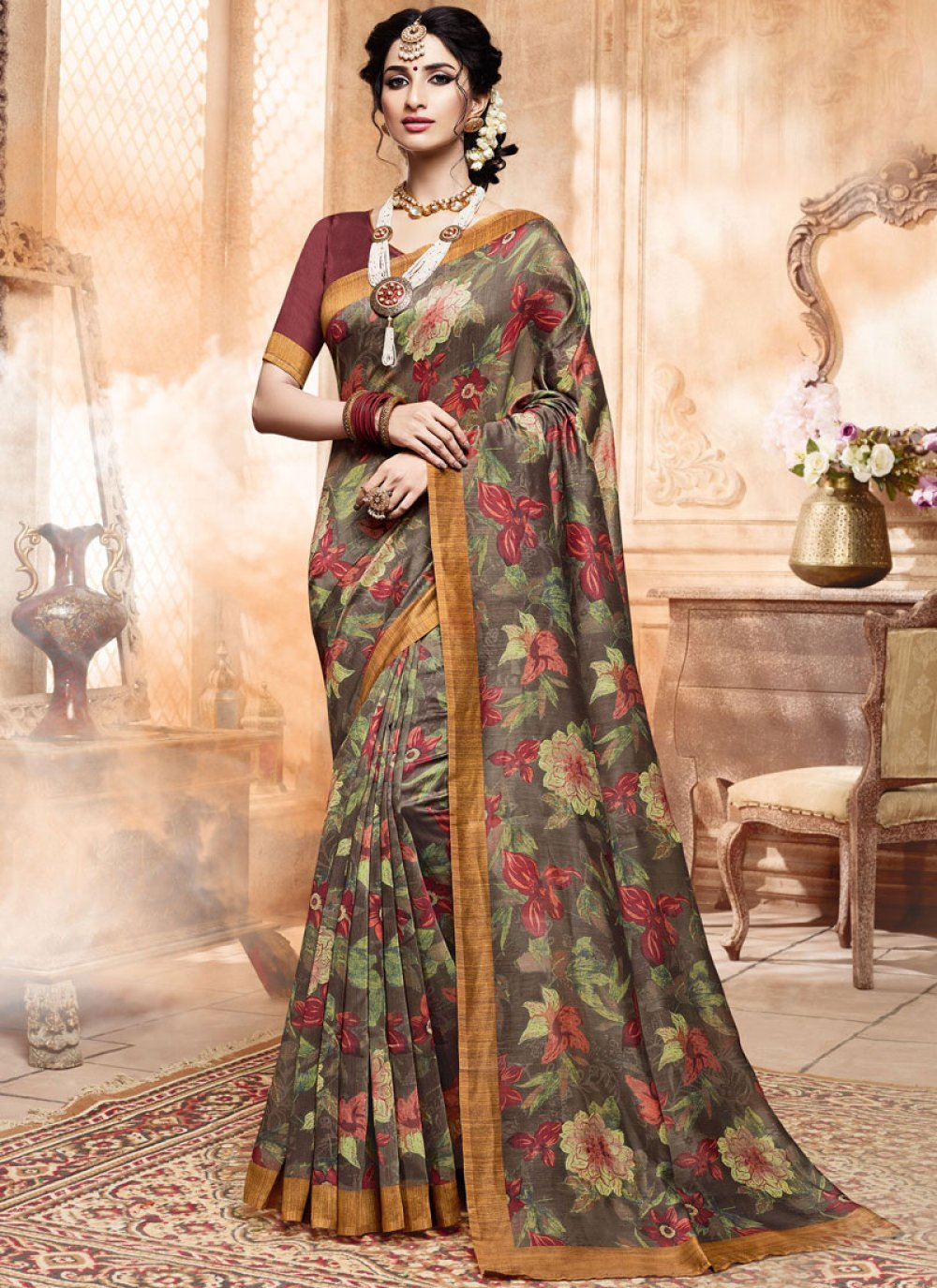 Multi Colour Casual Printed Saree