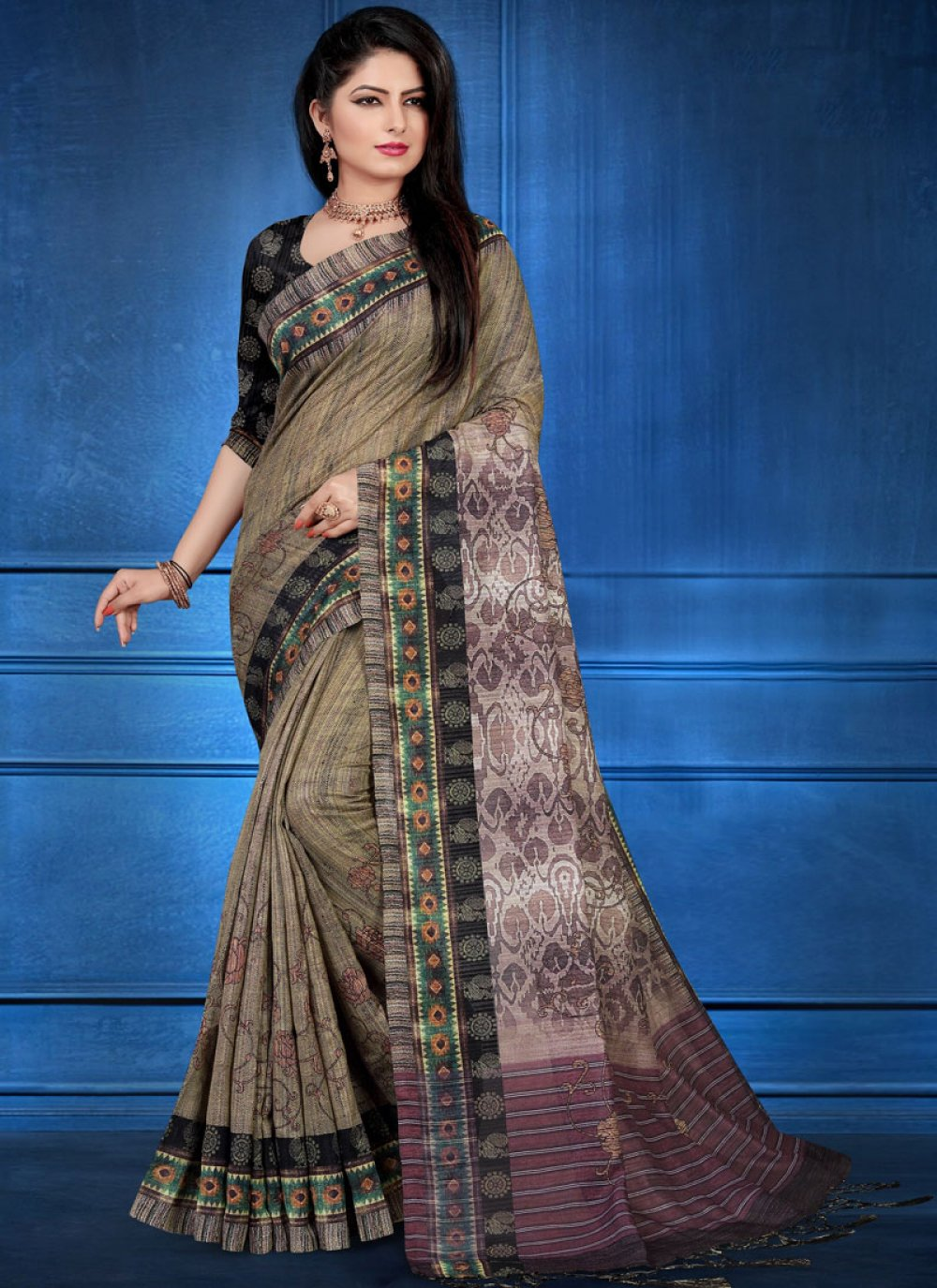 Multi Colour Ceremonial Art Silk Printed Saree