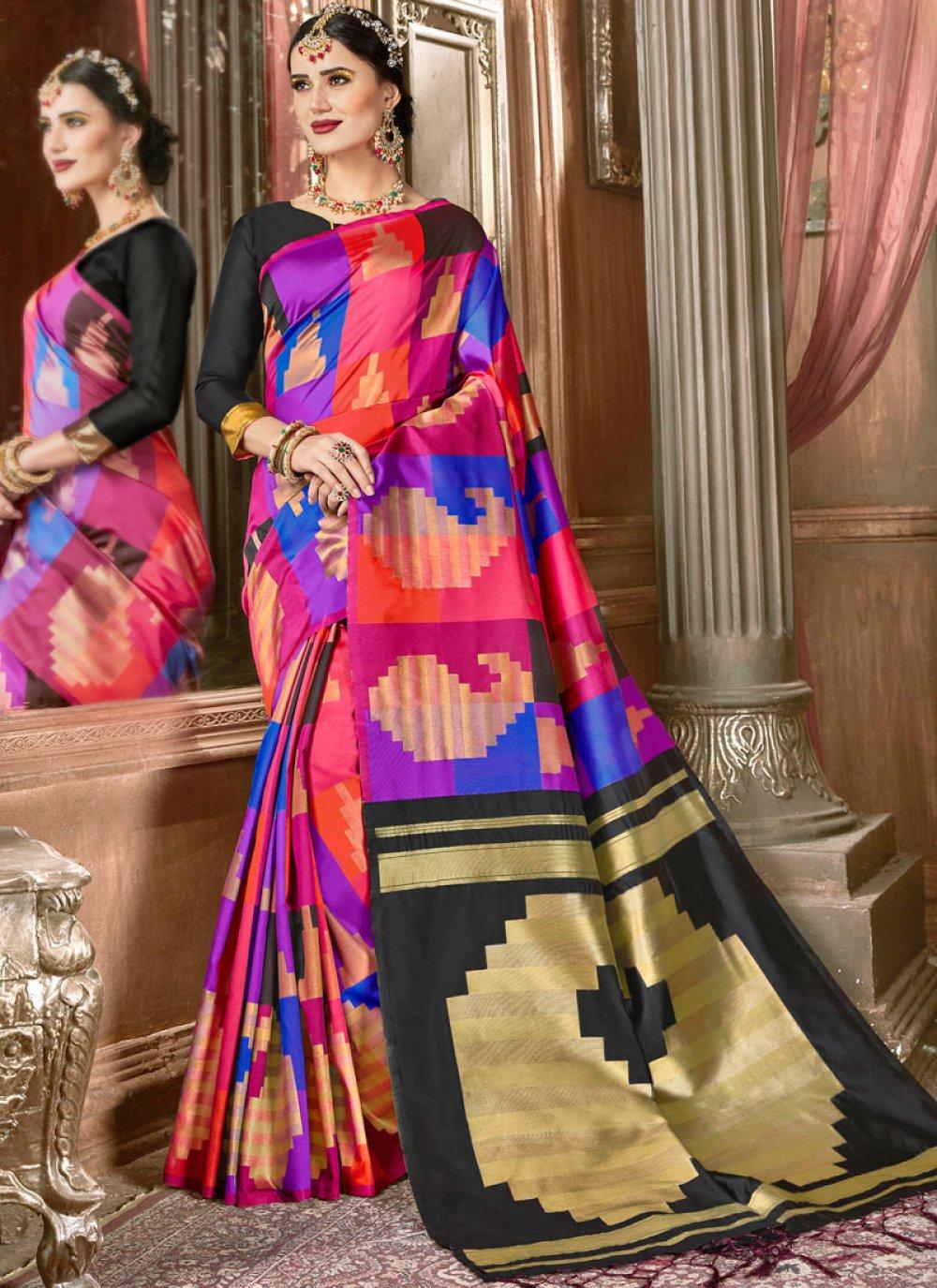 Multi Colour Ceremonial Traditional Saree