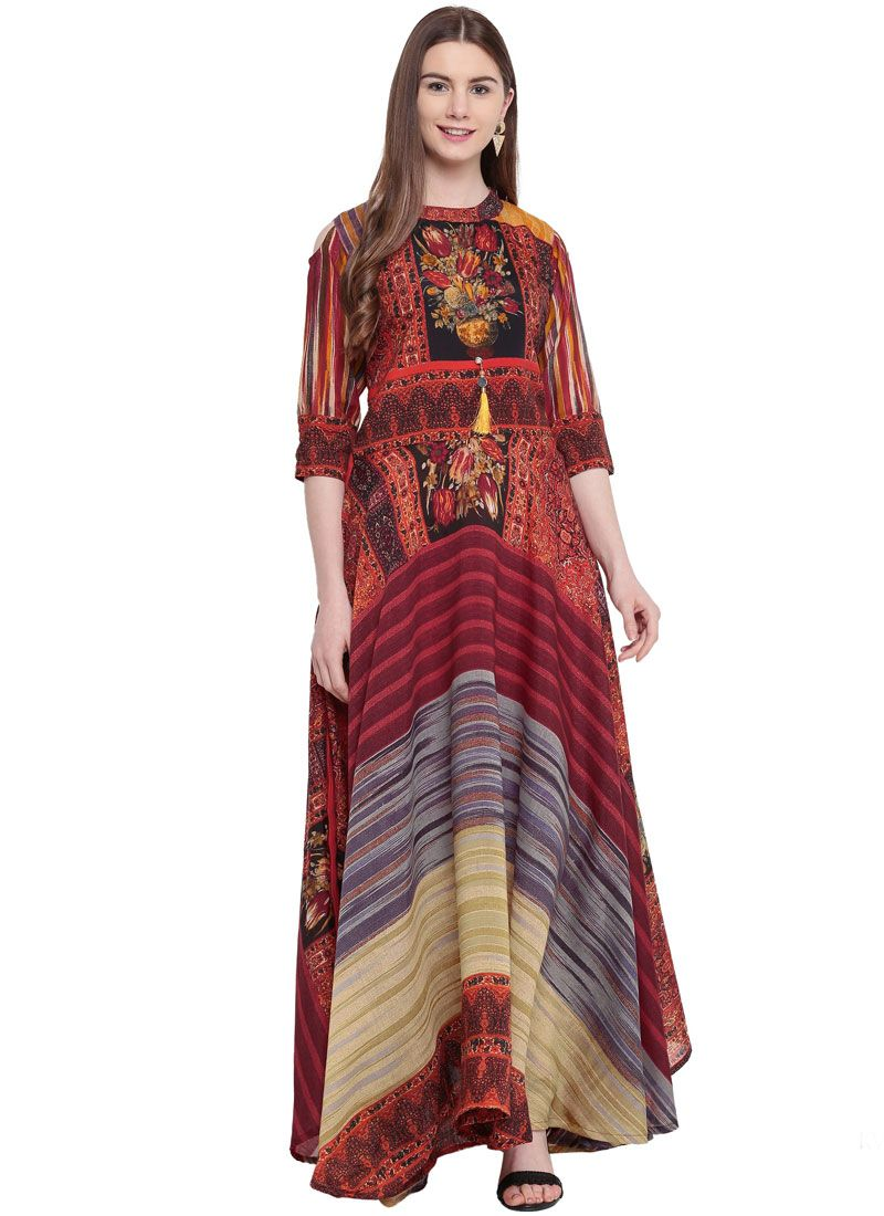 Multi Colour Color Designer Gown