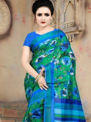 Multi Colour Cotton Abstract Print Printed Saree