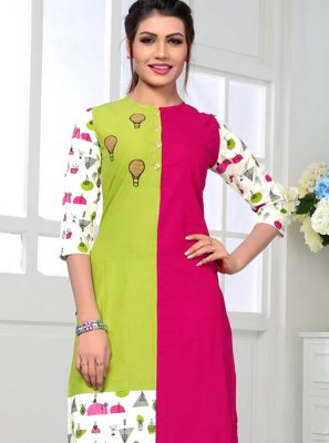 Multi Colour Cotton Casual Kurti