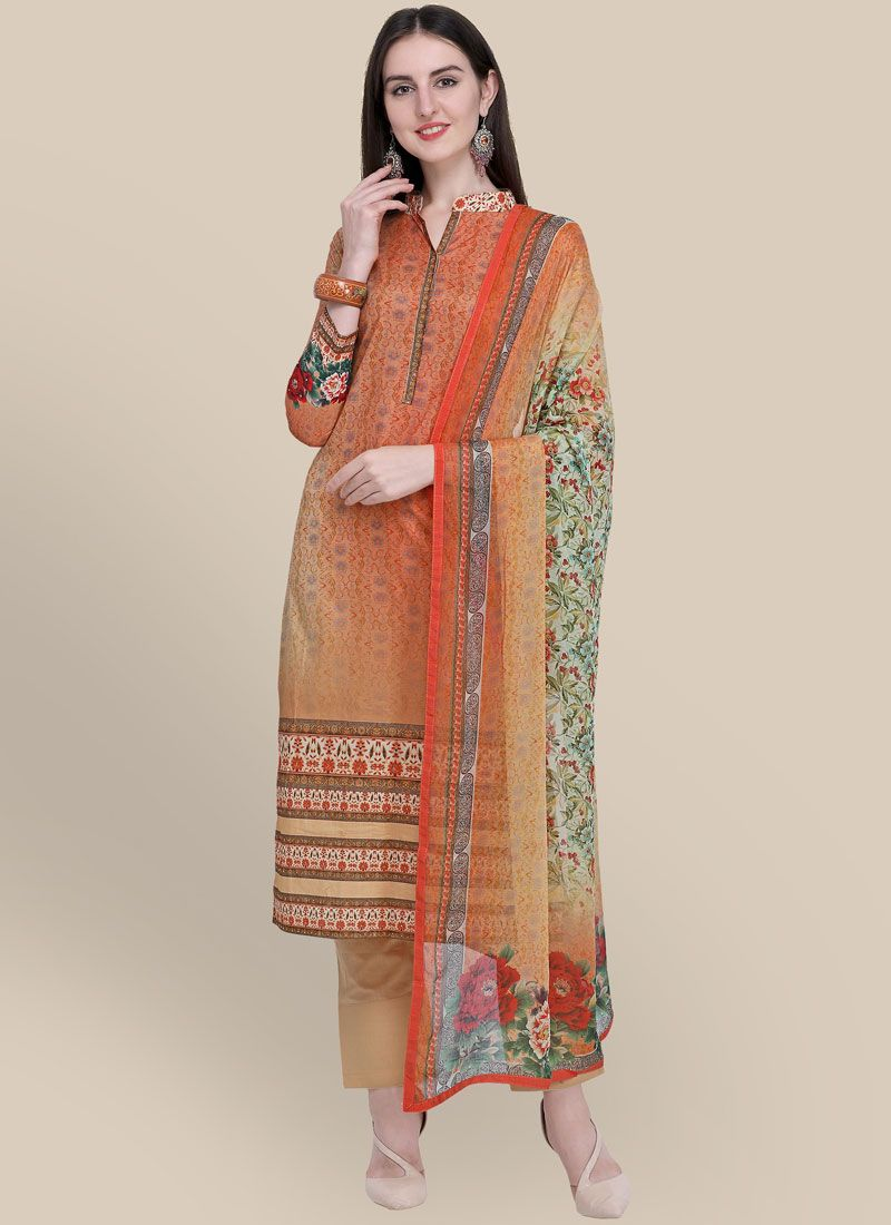 Multi Colour Cotton Designer Suit
