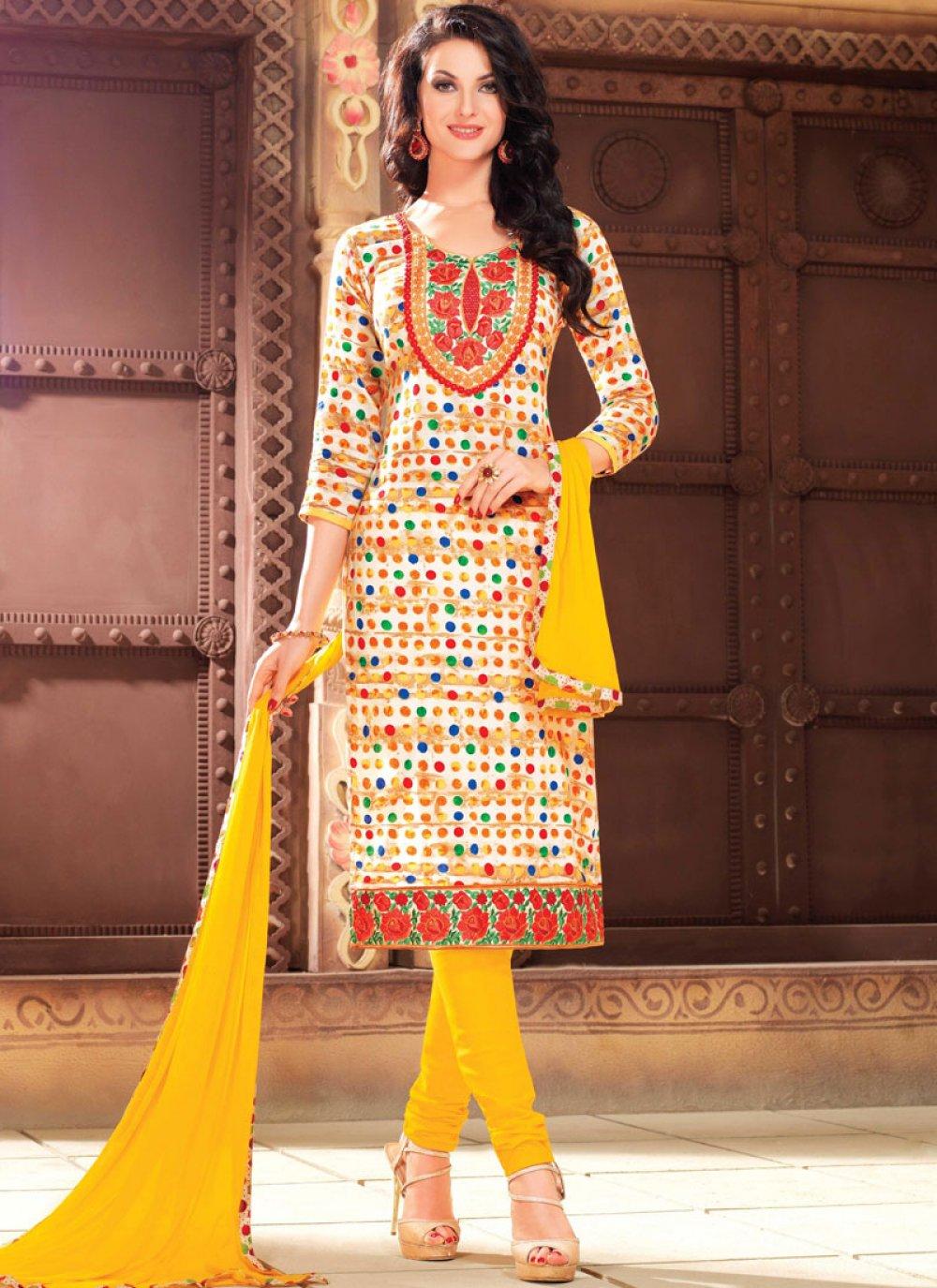 Multi Colour Cotton Printed Churidar Salwar Suit