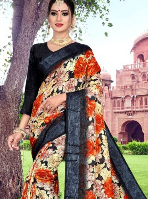 Multi Colour Cotton Printed Saree