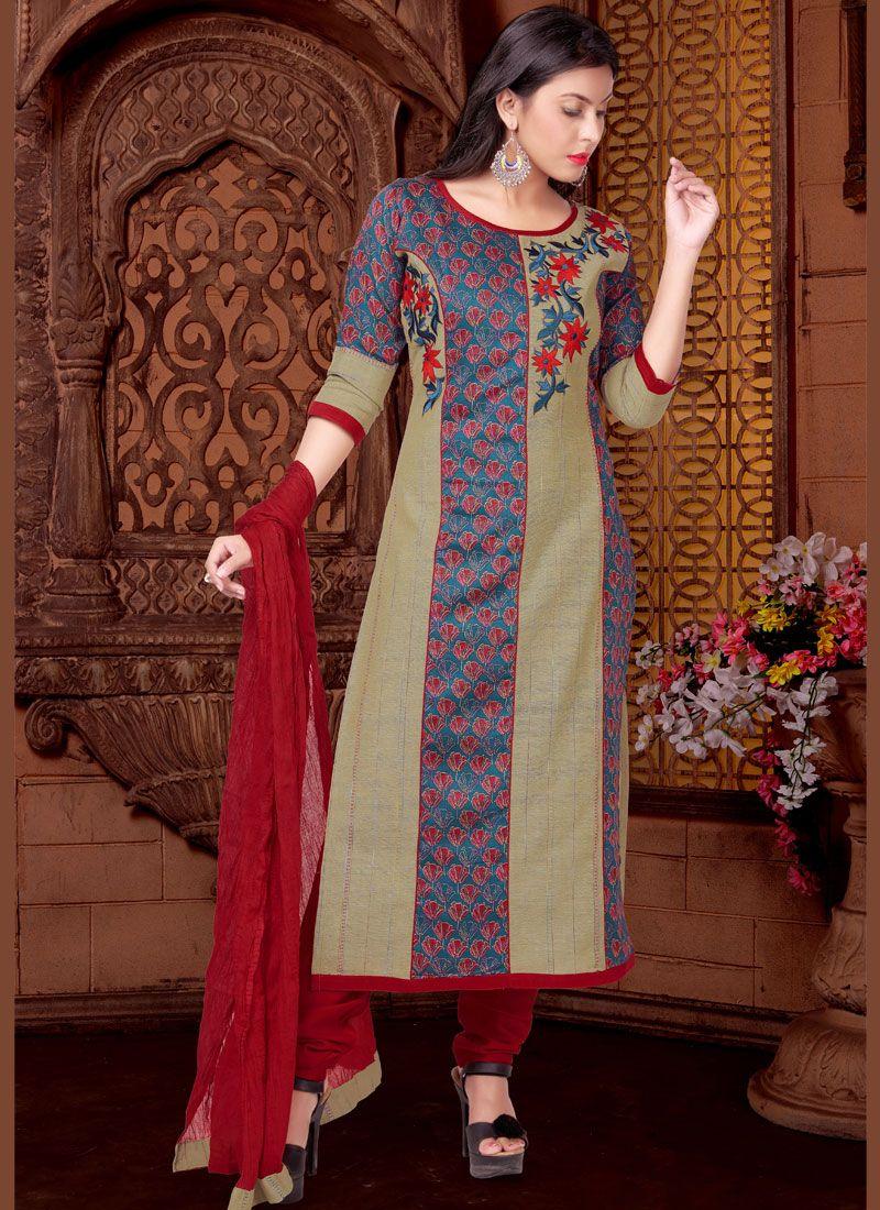 Multi Colour Cotton   Readymade Suit