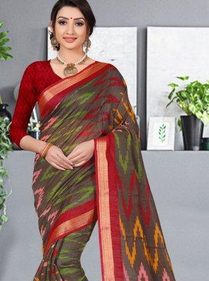 Multi Colour Cotton Silk Abstract Print Printed Saree