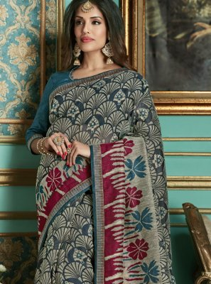 Multi Colour Cotton Silk Traditional Designer Saree