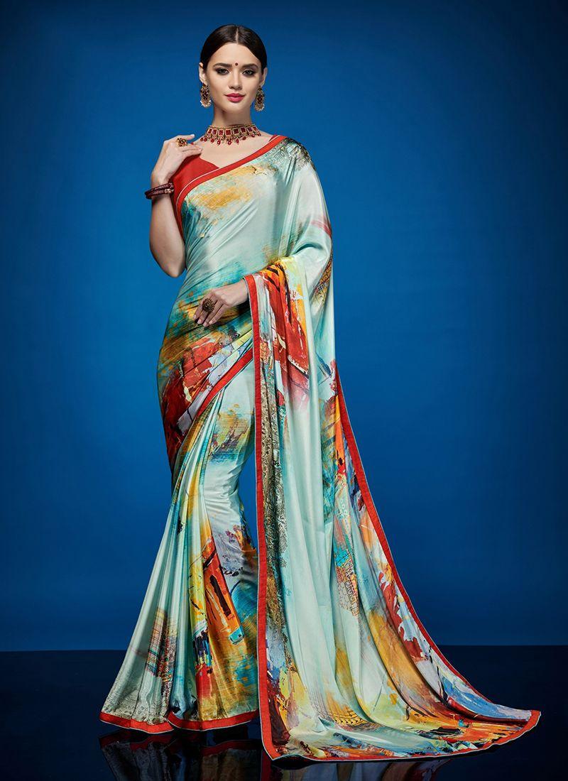 Multi Colour Crepe Silk Abstract Print Casual Saree
