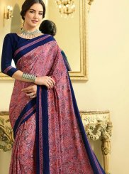 Multi Colour Crepe Silk Abstract Print Printed Saree