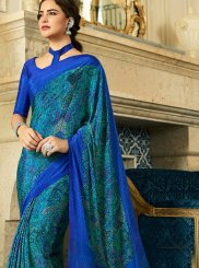 Multi Colour Crepe Silk Printed Saree