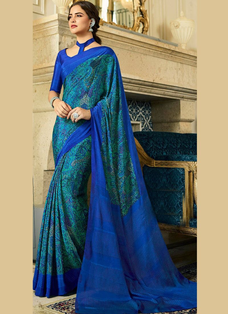 Multi Colour Crepe Silk Printed Saree