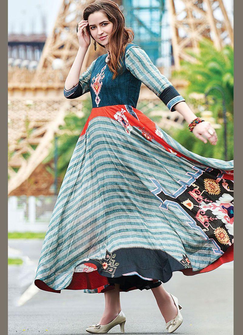 Multi Colour Digital Print Designer Gown
