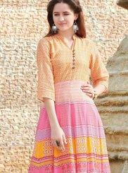 Multi Colour Digital Print Fancy Fabric Party Wear Kurti
