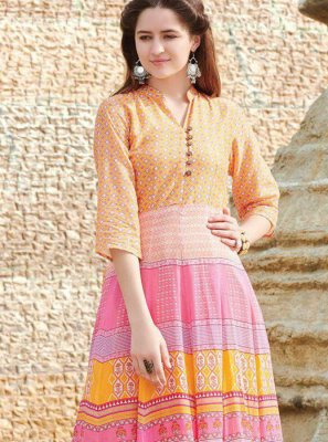 Multi Colour Digital Print Fancy Fabric Party Wear Kurti