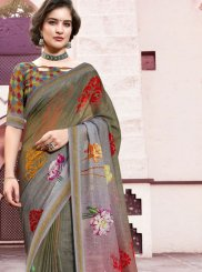 Multi Colour Digital Print Linen Trendy Saree