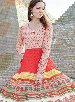 Multi Colour Digital Print Party Party Wear Kurti
