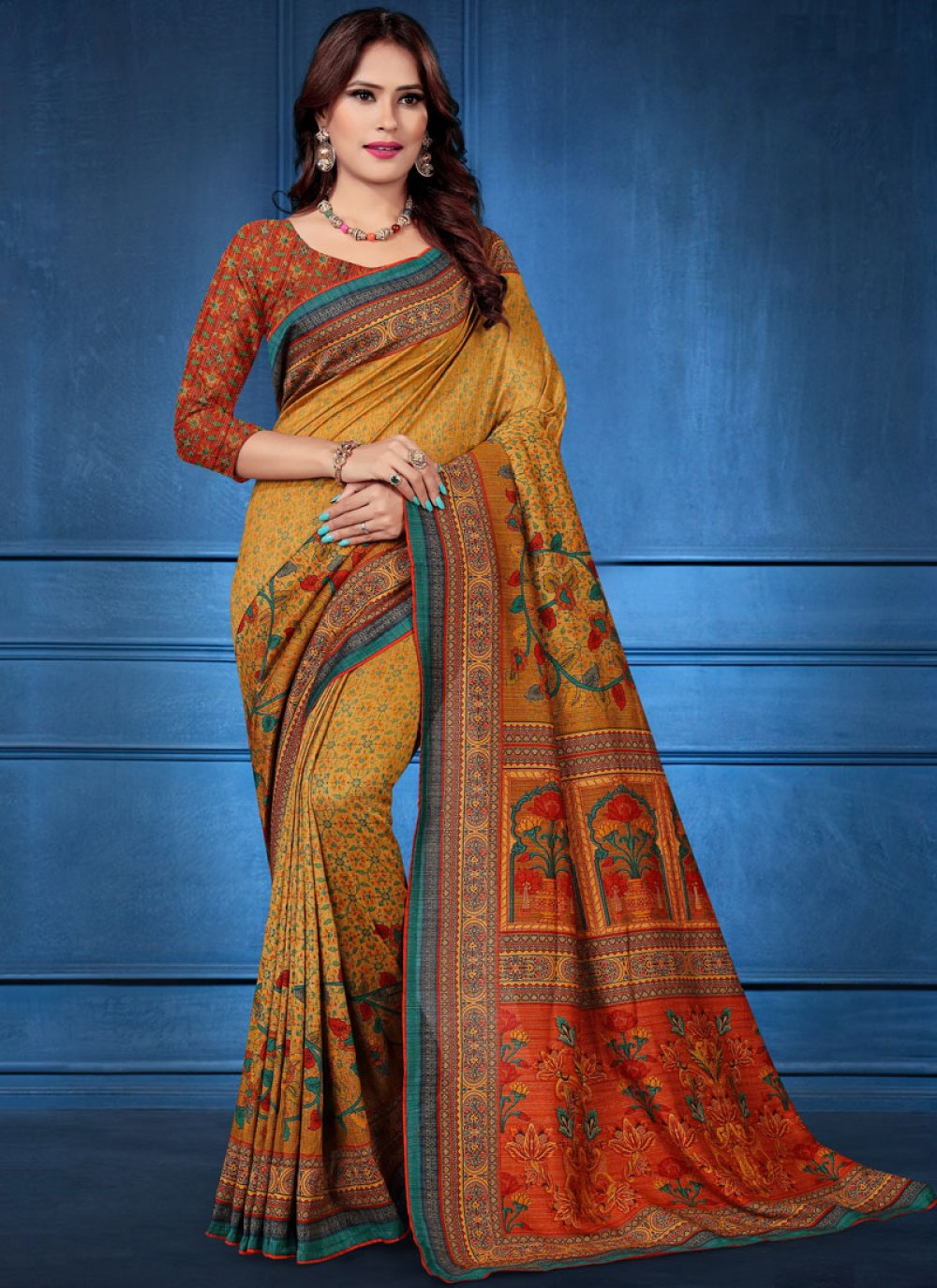 Multi Colour Digital Print Tussar Silk Traditional Saree