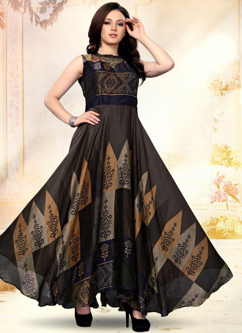Multi Colour Embroidered Art Silk Designer Gown