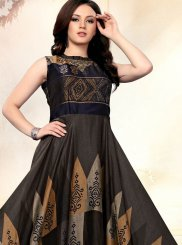 Multi Colour Embroidered Art Silk Designer Gown