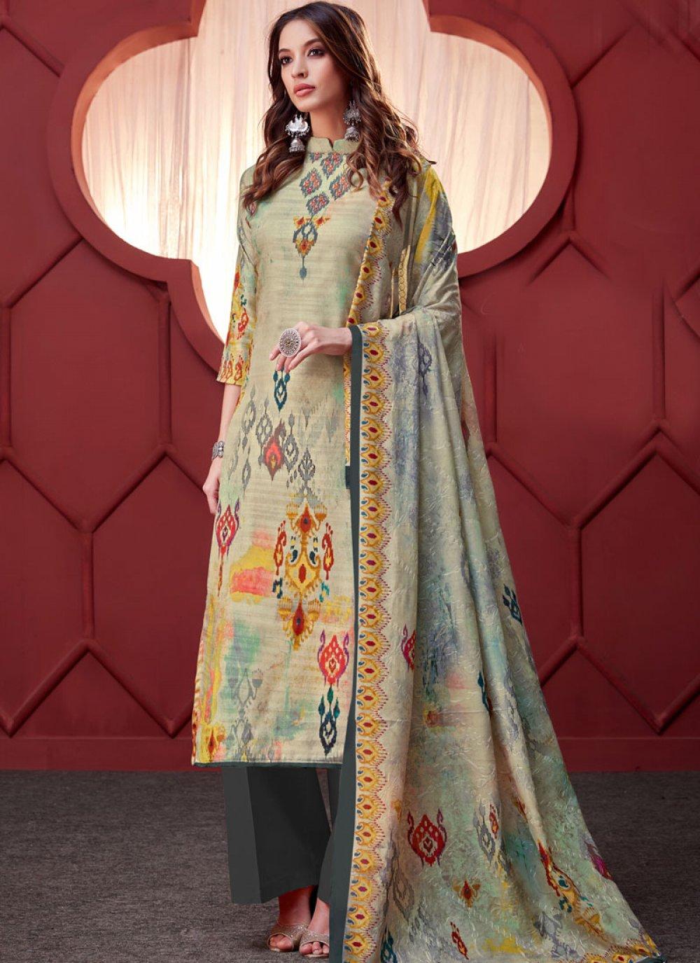Multi Colour Embroidered Art Silk Designer Palazzo Salwar Suit