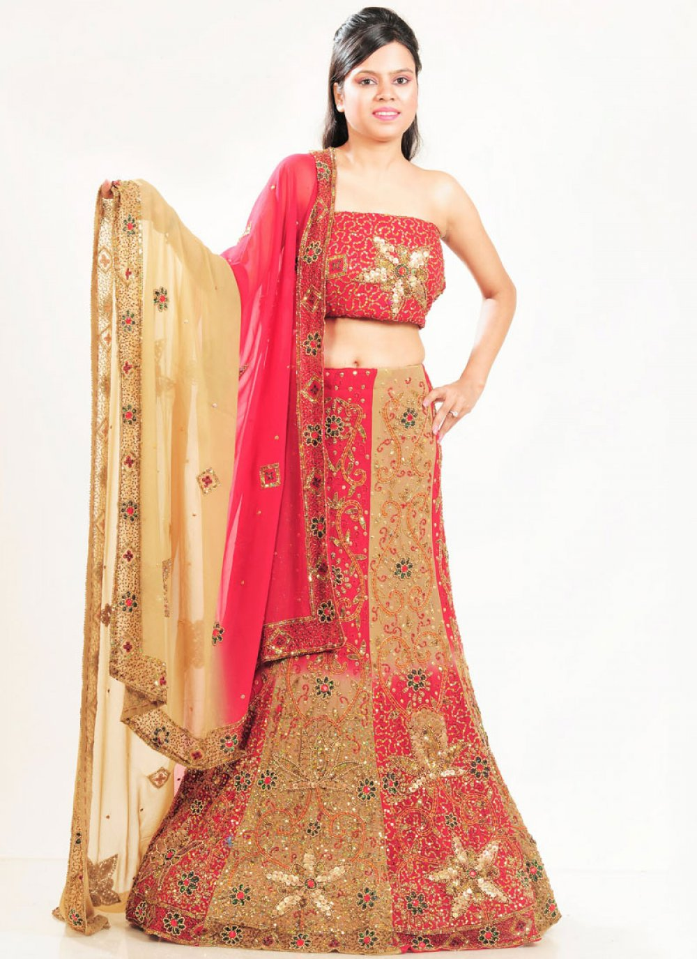 Multi Colour Embroidered Bridal Lehenga Choli