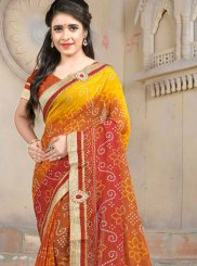Multi Colour Embroidered Casual Saree
