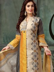 Multi Colour Embroidered Chanderi Readymade Suit