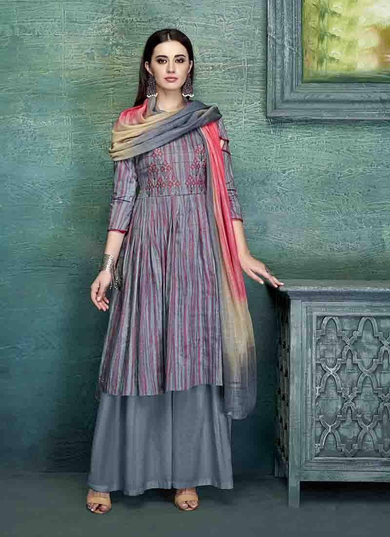 Multi Colour Embroidered Designer Palazzo Salwar Kameez