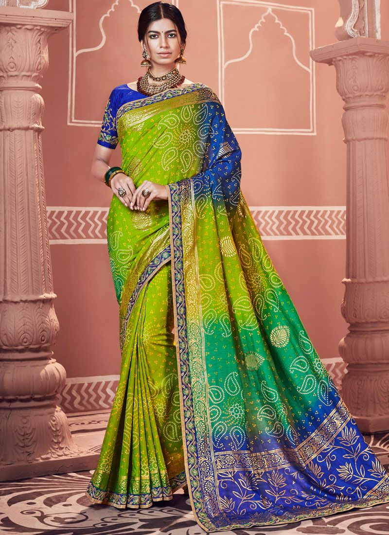Multi Colour Embroidered Faux Georgette Shaded Saree