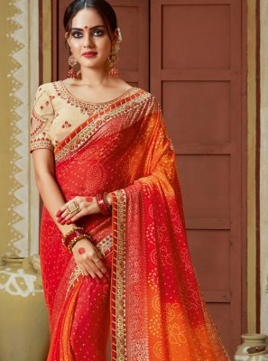 Multi Colour Embroidered Georgette Printed Saree