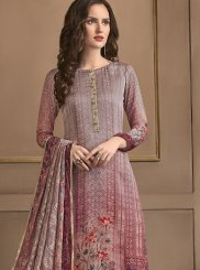 Multi Colour Embroidered Georgette Satin Pant Style Suit