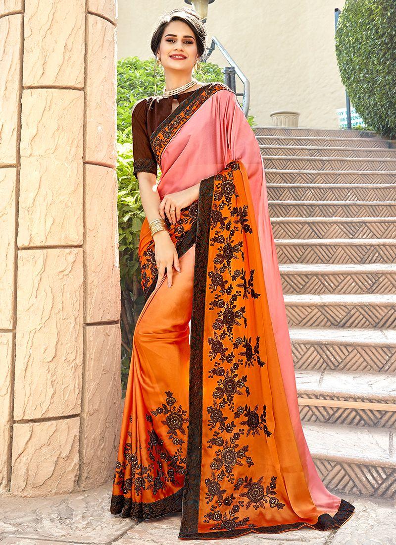 Multi Colour Embroidered Georgette Trendy Saree