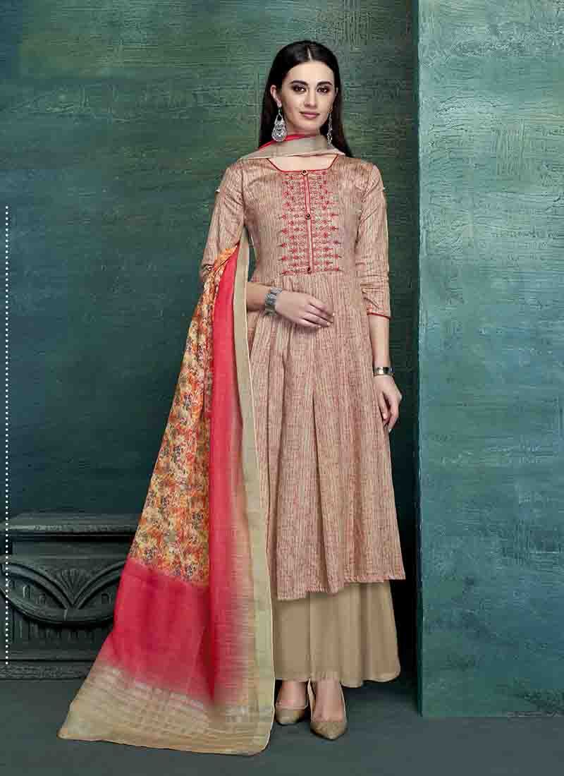 Multi Colour Embroidered Satin Designer Palazzo Salwar Kameez