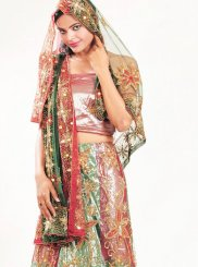 Multi Colour Embroidered Wedding Lehenga Choli