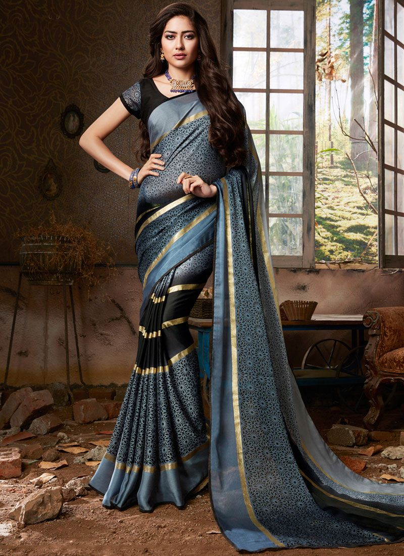 Multi Colour Fancy Fabric Abstract Print Printed Saree