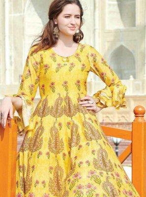 Multi Colour Fancy Fabric Party Wear Kurti