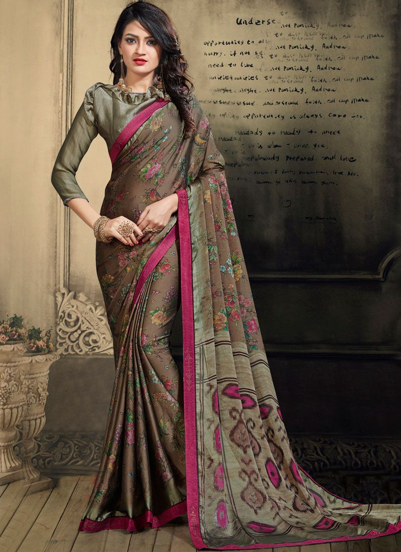 Multi Colour Faux Chiffon Abstract Print Printed Saree