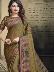 Multi Colour Faux Chiffon Ceremonial Printed Saree