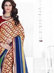 Multi Colour Faux Chiffon Printed Saree
