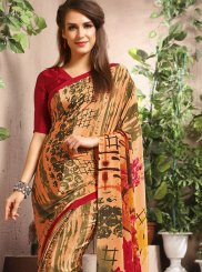 Multi Colour Faux Crepe Abstract Print Casual Saree