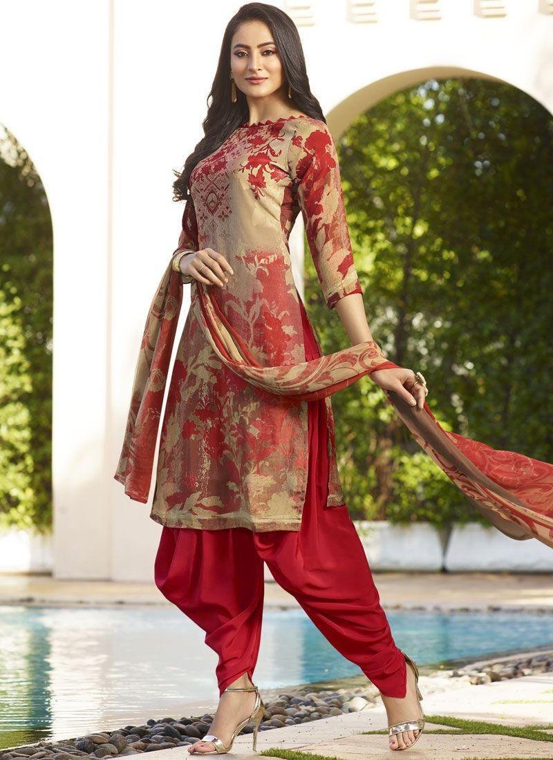 Multi Colour Faux Crepe Abstract Print Punjabi Suit