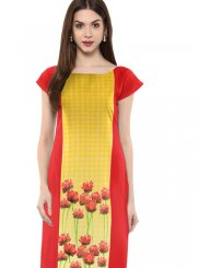 Multi Colour Faux Crepe Casual Kurti
