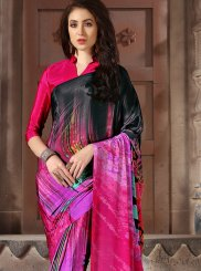 Multi Colour Faux Crepe Casual Saree