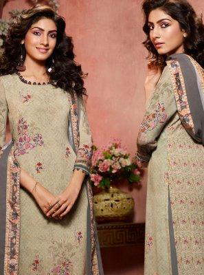 Multi Colour Faux Crepe Designer Palazzo Salwar Kameez